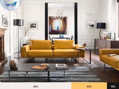 Phối màu sắc nội thất theo Quy tắc 60-30-10